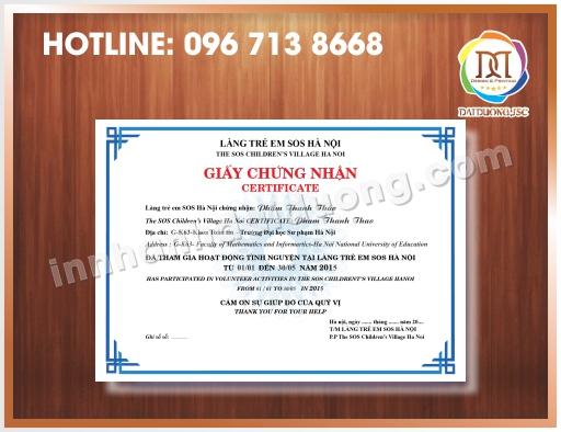 In giấy chứng nhận lấy ngay tại Hà Nội