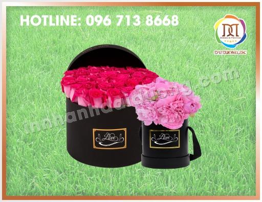 Điạ chỉ sản xuất hộp hoa tròn tại Hà Nội